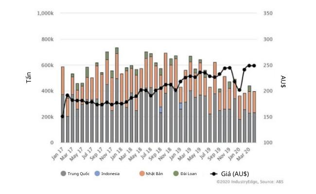 Xuất khẩu dăm gỗ của Úc giảm mạnh
